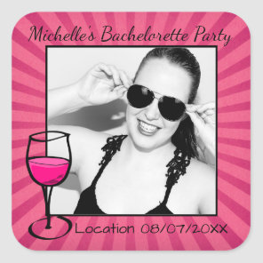 Personalised Bachelorette Frame Square Sticker