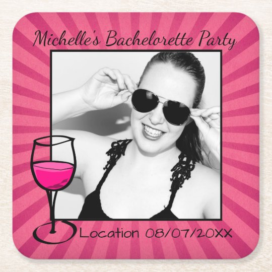 Personalised Bachelorette Framed Square Paper Coaster