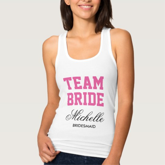 Personalised bachelorette tank tops for team bride