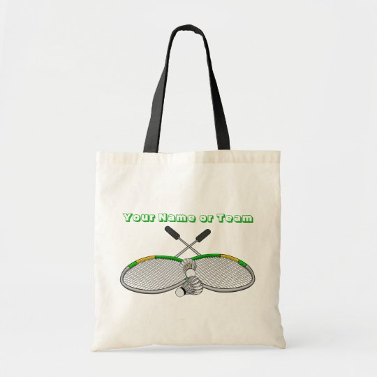 Personalised Badminton Player Crossed Racquets Tote Bag