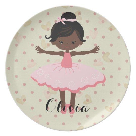 Personalised Ballerina - Afro American Plate