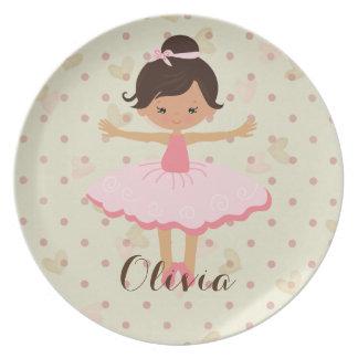 Personalised Ballerina - Brown Hair Brown Eyes Plate