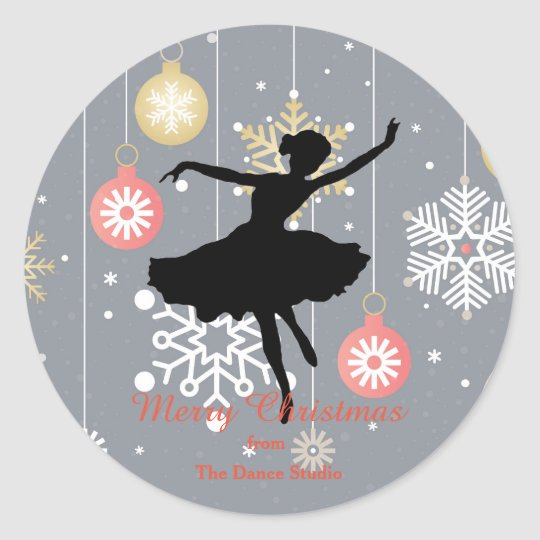 Personalised Ballerina Silhouette Christmas Classic Round Sticker