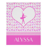 Personalised Ballet Dancer Pink Watercolor Hearts Poster