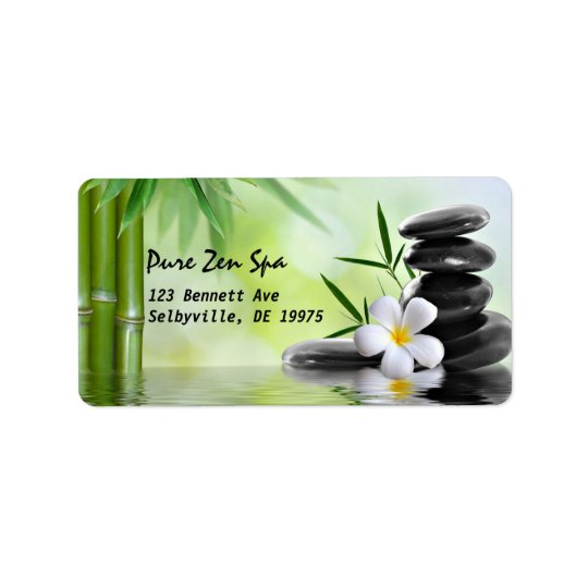 Personalised Bamboo Zen Stones Water Plumeria Address Label