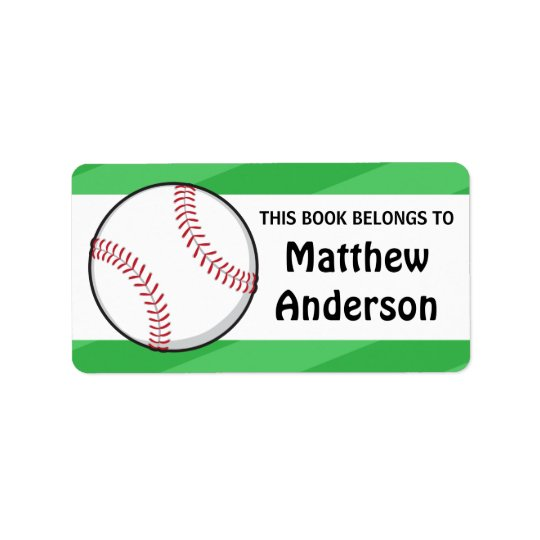 Personalised baseball bookplates for kids address label