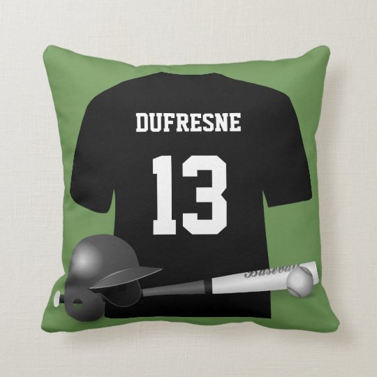 Personalised Baseball Jersey Green Reversible Cushion