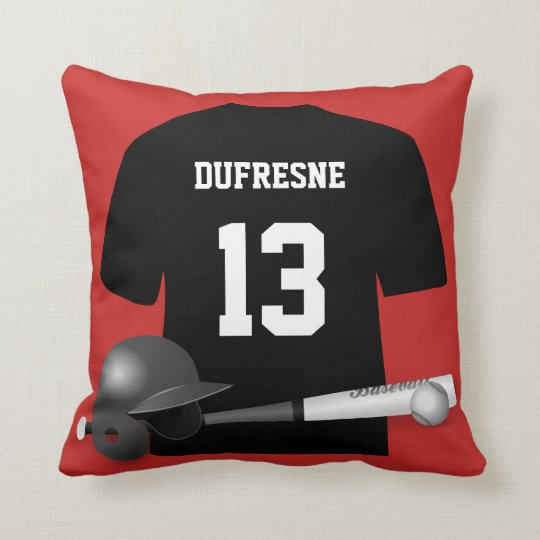 Personalised Baseball Jersey Red Reversible Cushion