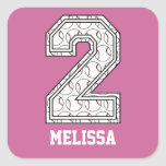 Personalised Baseball Number 2 Stickers