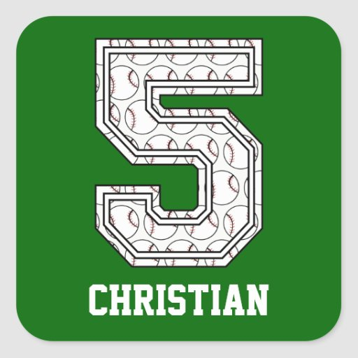 Personalised Baseball Number 5 Square Sticker