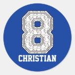 Personalised Baseball Number 8 Sticker