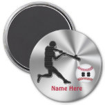 Personalised Baseball Team Gift Ideas for Kids 7.5 Cm Round Magnet