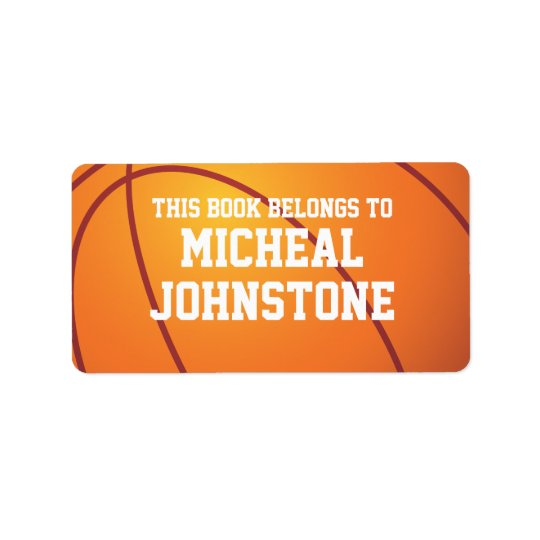 Personalised Basketball Book Plate Label