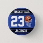 Personalised Basketball Dark Blue and Black 3 Cm Round Badge
