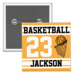 Personalised Basketball Gold and White Pin