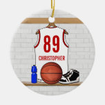 Personalised Basketball Jersey (white red) Christmas Ornaments