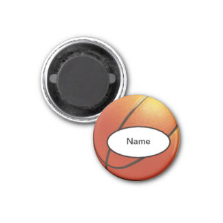 personalised basketball 3 cm round magnet