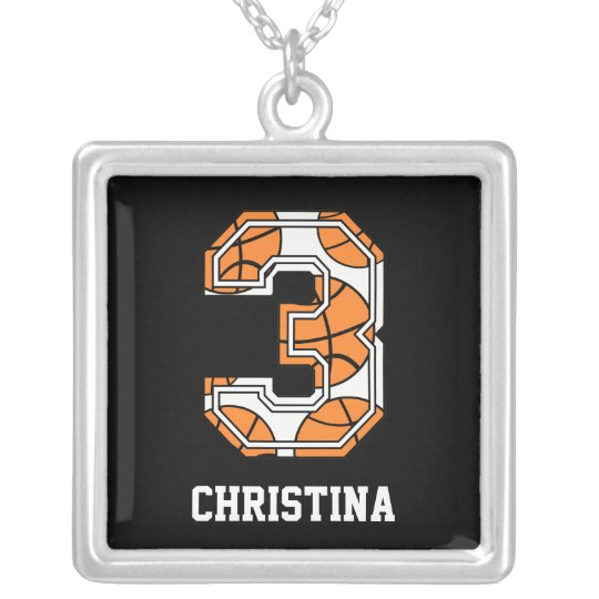 Personalised Basketball Number 3 Silver Plated Necklace