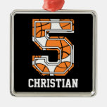 Personalised Basketball Number 5 Christmas Tree Ornaments