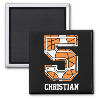 Personalised Basketball Number 5 Square Magnet