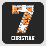 Personalised Basketball Number 7 Square Sticker