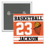 Personalised Basketball Orange and White Pinback Buttons