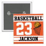 Personalised Basketball Orange and White 15 Cm Square Badge