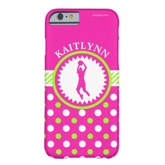 Personalised Basketball Pink - Green Polka-Dots Barely There iPhone 6 Case