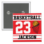 Personalised Basketball Red and White Pin