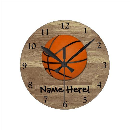 Personalised Basketball Wood Floor Round Clock