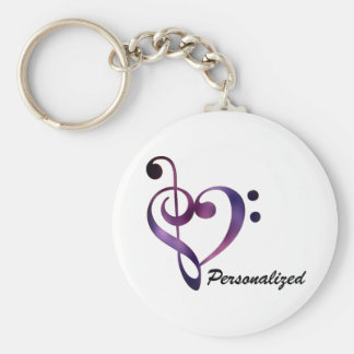 Personalised Bass and Treble Clef Heart Keychain