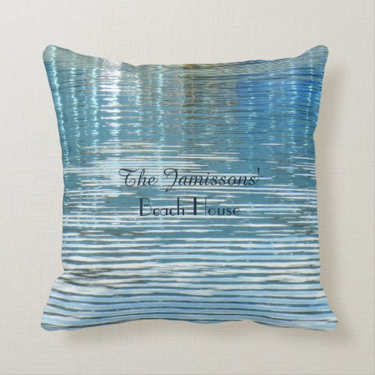 Personalised Beach House Reflection in Lake Square Cushion