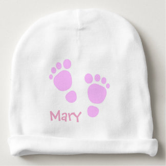 Personalised Beanie With Pink Feet Baby Beanie