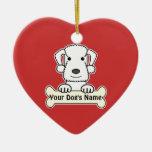 Personalised Bedlington Terrier Ceramic Heart Decoration