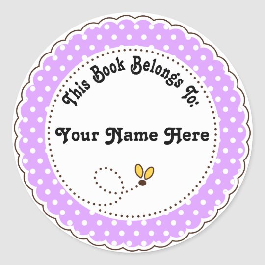 Personalised Bee Reading Bookplates Classic Round Sticker