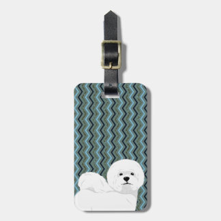 Personalised Bichon Frise - Sage Blue Navy Chevron Luggage Tag