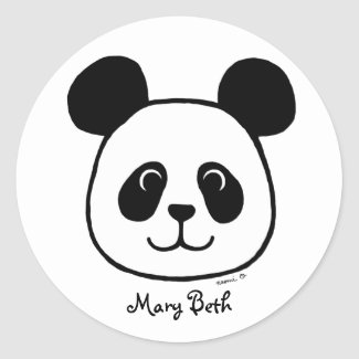 Personalised Big Face Panda Cartoon Stickers