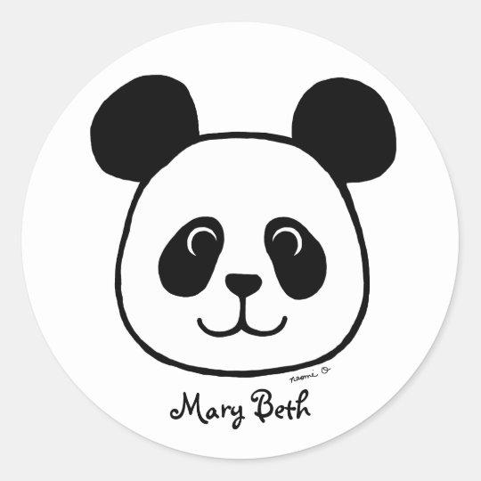 Personalised Big Face Panda Cartoon Classic Round Sticker
