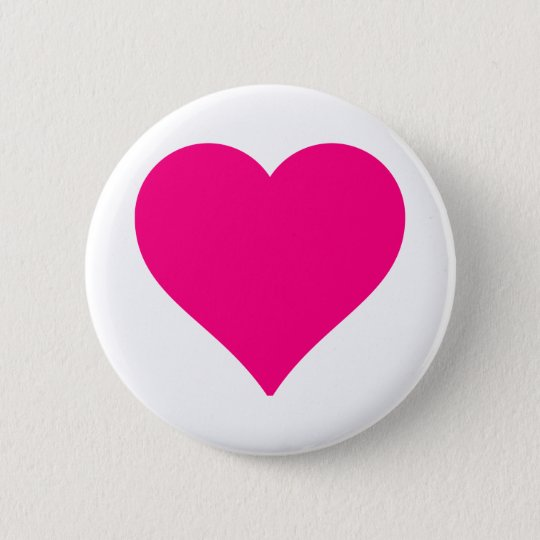 Personalised Big Pink Love Heart 6 Cm Round Badge