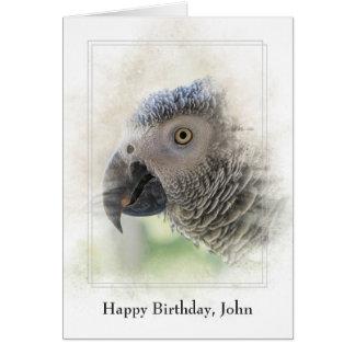 personalised birthday-African Grey Card