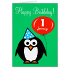 Personalised Birthday card | Penguin with balloon