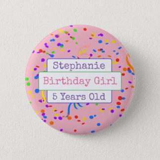 Personalised Birthday Girl Fun Confetti Button