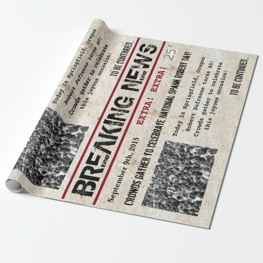 Personalised Birthday Headline News Wrapping Paper