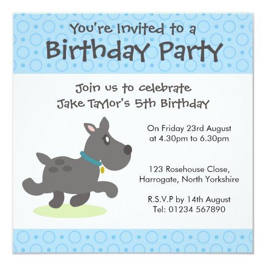 Personalised Birthday Invitation - Black Dog