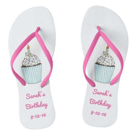 Personalised Birthday Party Cake Cupcake Flip Flop