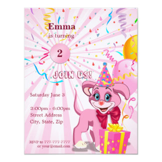 Personalised Birthday Puppy Cartoon Invitaion Card