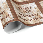 Personalised Birthday Wrapping Paper His AGE, NAME