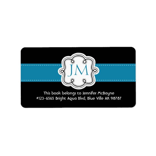 Personalised Black and Aqua Ladies  Bookplate Address Label