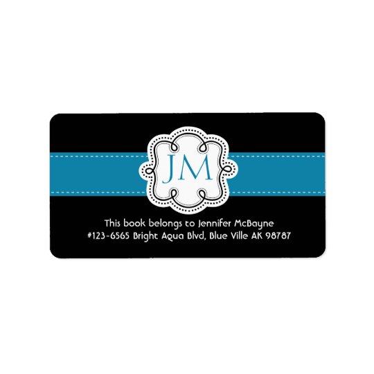 Personalised Black and Aqua Ladies  Bookplate Label