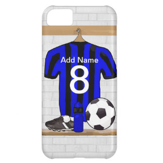 Personalised Black and blue football soccer Jersey iPhone 5C Covers